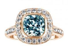 3.51 carats Blue cushion & white round diamonds engagement ring pink gold 14K #ring #blue #fashion #wedding #anniversary #birthday #gift #diamond