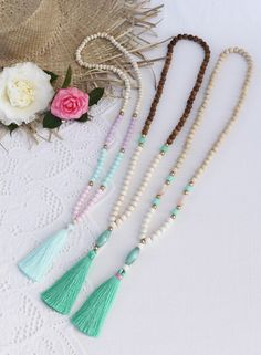 Ocean colors - pretty beaded tassel necklaces by Bright new Penny www.brightnewpenny.com