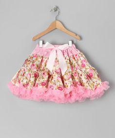 Pink Floral Bow Pettiskirt - Toddler & Girls