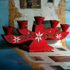 vintage c. 1970 hand painted SWEDISH DALA candle holder...    inch x   inch   L