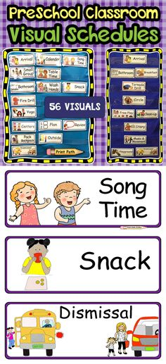 Choose from 55 preschool schedule visuals to support positive behaviors and stress-free transitions! Engaging and easy to understand pictures help your students make positive behavioral choices. Four sets include: in the classroom, out of the classroom, emergency, and play stations. These four sets are color-coded to help you keep your infrequently used visuals organized and accessible. Each set comes with blank pages so that you can add your own visuals. Editable! Classroom Schedule, Preschool Schedule, Daycare Schedule, Preschool Special Education, Preschool Classroom, Toddler Classroom, Autism Classroom, Classroom Decor, Classroom Organization