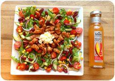lindastuhaug | Smakfull kyllingsalat med hint av mango&chilli Healthy Meals, Healthy Recipes, Cottage Cheese, Kung Pao Chicken, Lchf, Pasta Salad, Nom Nom, Mango, Ethnic Recipes