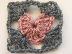 two round crochet heart square