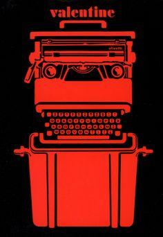 """Inserzione pubblicitaria realizzata da Ettore Sottsass e Roberto Pieraccini, pubblicata sulla rivista """"L'Architettura"""" nel 1970 per la macchina per scrivere Valentine, uscita nel 1969 con design dello stesso Ettore Sottsass insieme a Perry A. King."""