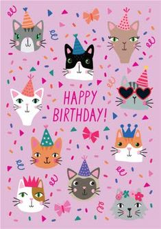 Happy Birthday Wishes Cake, Cute Happy Birthday, Happy Birthday Beautiful, Happy Birthday Greetings, Birthday Greeting Cards, Happy Bird Day, Birthday Card Template, Cat Party, Birthday Images