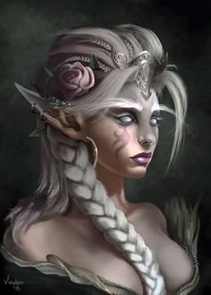 "ArtStation - Tribute to Tamplier's ""White Priestess"", Daniele Petretto Fantasy Girl, Dark Fantasy Art, Fantasy Races, Fantasy Authors, Fantasy Characters, Fantasy Creatures, Mythical Creatures, Arte Aries, Character Inspiration"
