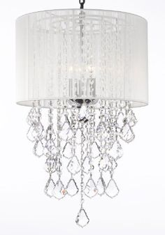 "Crystal Chandelier With Large White Shade! H24"" X W15"" Trimmed With Spectra (Tm) Crystal - Reliable Crystal Quality By Swarovski - G7-B7/White/3/604/3Sw"