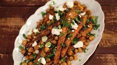 Roasted Carrots  and Chickpeas with Feta Vinaigrette Recipe | The Chew - ABC.com - Jessica Seinfeld