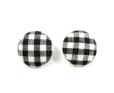 Gingham Earrings Black and White Studs Plaid Check by MistyAurora, $11.50
