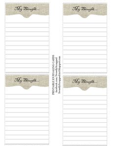 My Thoughts printable journaling cards
