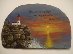 Lighthouse & Bible Verse hand painted on slate.