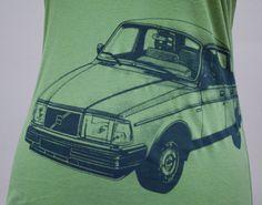 Volvo 240 Ladies Tee Shirt Green SALE