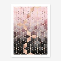 Pink and Grey Gradient Cubes Art Print. Shop framed and unframed art prints and posters on Fy ✓ Free, fast shipping ✓ 100 day returns ✓ Museum quality paper & printing ✓ Professionally framed Grey Wallpaper, Pattern Wallpaper, Wallpaper Backgrounds, Iphone Wallpaper, Pink Abstract, Geometric Painting, Abstract Pattern, Abstract Art, Pattern Paper