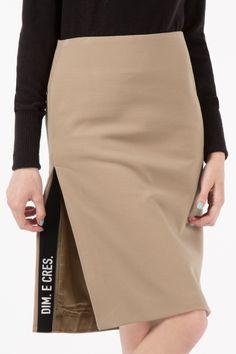 Beige Dim Logo Basic Slit Midi Skirt