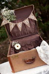 Vintage suitcase wedding card box. Such a cute idea! Pockets can be used for little keepsakes too.