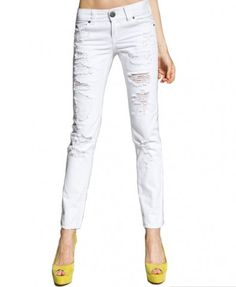 White Low Rise Waist Denim Pants with Ripped Detail