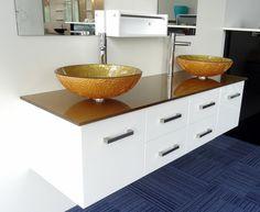Art Double  Bathroom Vanity White Cabinet Set 1500mmW Golden Mist