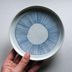 Plate. Blue, design, pattern, lines, circle, dishware, kitchen, pottery, ceramics, simple.