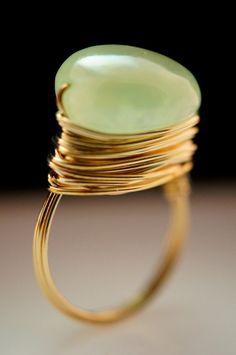 Antique, Natural Origin Quartz , Wire Wrap Ring