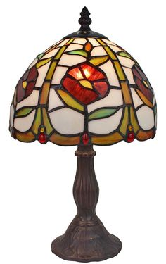Amora Lighting Tiffany Style AM039TL08 15-inch Floral Mini Table Lamp. ◾Dimensions: 15 inches high x 8 inches in diameter. ◾Features: 174 glass pieces and 18 cabochons. ◾Number of lights: One (1), switch - Pull-Chain. ◾Materials: glass shade, Metal Base. ◾Requires: One (1)40-watt, type E12 Type C bulb (not included).
