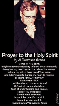 """Prayer to the Holy Spirit by St Josemaria Escriva - Come, O Holy Spirit: enlighten my understanding to know Your commands; strengthen my heart against the wiles of ther enemy; inflame my will...."""" ~ AnaStpaul"""