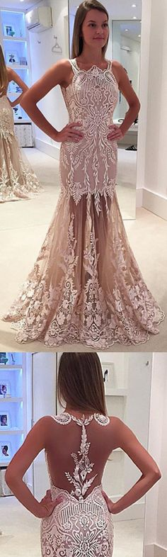 Mermaid Prom Dress,Lace Prom Dress,Long Prom Dress,Sleeveless Prom Dress,Back Illusion Prom Dress,Square Prom Dress,2017 Prom Dress,2017  Prom Dresses