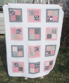 Fresh Modern Baby quilt for a friends first child. Is doing his nursery in pink and gray