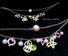 Spring Comes Bracelet with tatted motives and pearls.