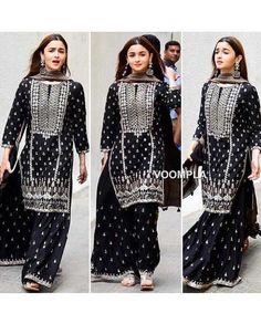 Online shopping for women Salwar Suits Indian. Latest collection of Anarkali, party wear, casual wear, Punjabi at cheap price Dress Indian Style, Indian Fashion Dresses, Pakistani Dress Design, Pakistani Dresses, Black Pakistani Dress, Pakistani Sharara, Pakistani Suits, Ethnic Outfits, Indian Outfits