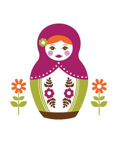 Little Matryoshka 8x10 Print Green & por CarlyGriffithDesigns