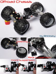 Compact Off-Road Suspension Chassis with Stearing! - Do it yourself - Compact Off-Road Suspension Chassis with Stearing! Lego Cars, Lego Robot, Legos, Pokemon Lego, 4x4, Technique Lego, Construction Lego, Lego Mindstorms, Lego Mechs