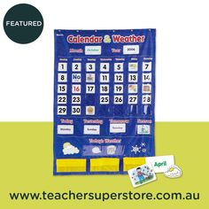 Calendar and Weather Chart with Pockets - Australian Teaching Aids - This heavy duty vinyl pocket chart will make teaching students about the monthly calendar and the daily weather a breeze. Daily Weather, Todays Weather, Teaching Aids, Student Teaching, Numbers 1 100, 100 Chart, Magazine Pictures, Make Your Own Card, Type Posters
