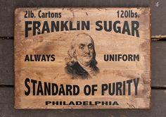 NEW Vintage wooden sign 'Franklin Sugar' decorative by VASSdesign