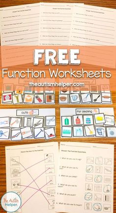 Free Function Worksheets - The Autism Helper - Autism Education Life Skills Activities, Life Skills Classroom, Autism Classroom, Speech Therapy Activities, Language Activities, Life Skills Lessons, Articulation Activities, Play Therapy, Therapy Ideas