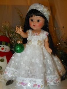 Christmas dress, ornament and headband for 7 to 8 inch dolls. Ginny Muffy, Madam Alexander