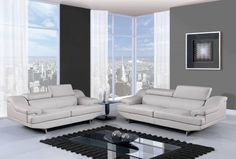 U8141 Series Natalie Grey Black Bonded Leather Living Room Set