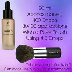 Photoshop In A Bottle aka Younique Mineral Touch Foundation. This stuff is aaaamazing lasts so long as all you need is 4-5 drops of our liquid foundation onto the puff brush - www.AnnasLashBash.com