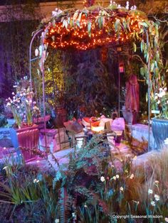 ... covered with little lights and plants, and provided an idyllic spot