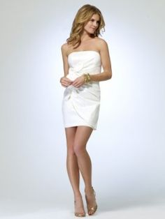 White Strapless taffeta dress with faux wrap and oversize rosette detail [#O5070J22954618] - $168.00 : Crazeparty.com, Dare to be Different!