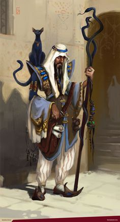 m Wizard Robes Staff Cat familiar urban city street Castle Basi nw artist Medico of ancient east Dungeons And Dragons Art, Dungeons And Dragons Characters, Dnd Characters, Fantasy Characters, Fantasy Male, Fantasy Rpg, Medieval Fantasy, Dark Fantasy, Fantasy Character Design
