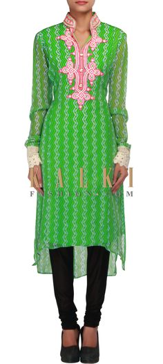 Buy Online from the link below. We ship worldwide (Free Shipping over US$100) http://www.kalkifashion.com/green-and-kelly-green-printed-kurti-embellished-in-thread-embroidery-only-on-kalki.html