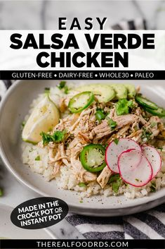If you've got 5 minutes, you'll be on your way to the easiest Salsa Verde Chicken you'll ever make (and love)! With just 5 ingredients and 5 minutes of prep time, this chicken chile verde is one of the easiest meals to put together and can be made in either the Instant Pot or Crockpot. Paleo Recipes Easy, Whole 30 Recipes, Real Food Recipes, Free Recipes, Cooking Recipes, Clean Eating Recipes For Dinner, Healthy Dinner Recipes, Chicken Lunch Recipes, Salsa Verde