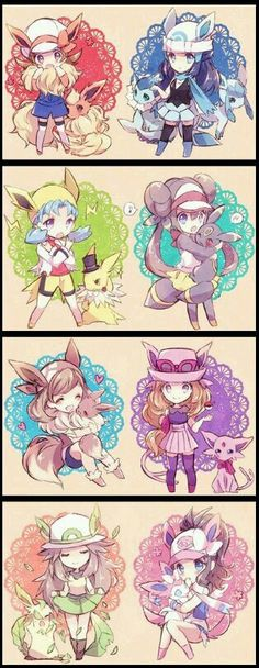 Pokemon girls and their eevee/eeveelutions