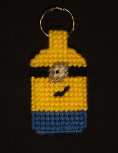Despicable Me, Minions Keychain made from Plastic Canvas by Robert