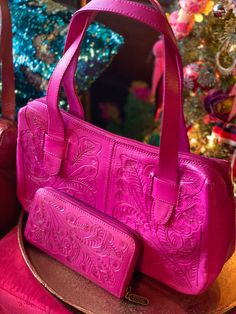 Tooled leather handbag