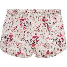 Stella McCartneyEllie Leaping Printed Stretch-silk Satin Pajama Shorts ($44) ❤ liked on Polyvore featuring intimates, sleepwear, pajamas, shorts, ivory, satin pjs, stella mccartney, satin pyjamas, satin pajamas and satin sleepwear