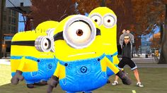 Minions Playing in the City with Stunt Driving, Flips, and Dancing to Nu...