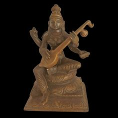 """Panchaloha Devi Saraswati Statue playing With Veenai""""Saraswati Mata statue is made the traditional way and is a reverent idol to use for your offerings. In Tamil, she is also known as Kalaimagal ,Kalaivāni ,and Bharathi May the goddess of speech enable us to attain all possible eloquence,Saraswati became a prominent deity in Buddhist iconography the consort of Manjushri in 1st millennium CE.  Saraswati Statue, Saraswati Mata, Brass Statues, Coimbatore, Deities, Art World, Lovers Art, Buddha, Idol"""