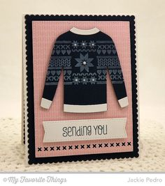 card MFT Comfy Sweater - dienamics - christmas card winter fall card nordic knit holiday knit die-namics #mftstamps
