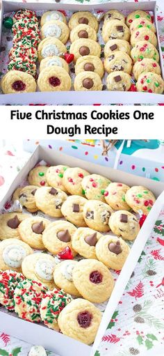 Five Christmas Cookies One Dough Recipe - All of the different cookies look so gorgeous in the gift box. This cookie dough tastes amazing too - Christmas Deserts, Holiday Desserts, Holiday Baking, Christmas Baking, Holiday Treats, Holiday Recipes, Christmas Recipes, Christmas Foods, Christmas Breakfast